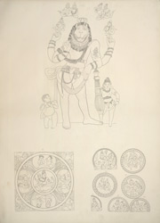 Narasimha, Cave III, Badami. Ceiling panel with Shiva and Parvati in the centre; roundels on pillar, cave III, Badami